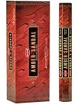 HEM AMBER SANDAL INCENSE 20 STICKS HEX PACK