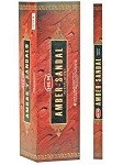 HEM AMBER SANDAL INCENSE 8 STICKS SQUARE PACK