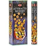 HEM ATTRACTS MONEY INCENSE 20 STICKS HEX PACK