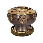 7 CHAKRA BRASS SCREEN BURNER WITH COASTER 2.75