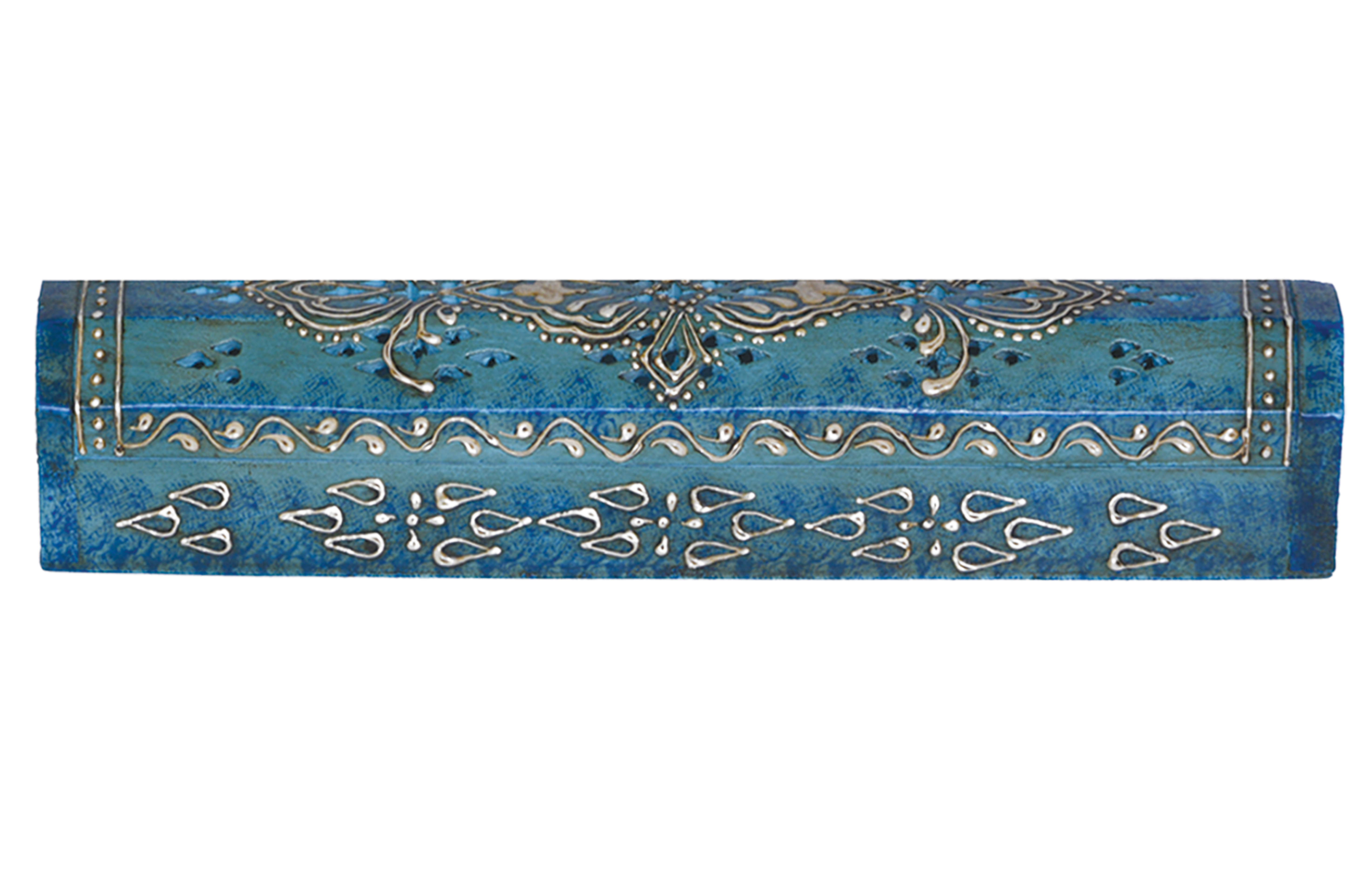 Hand Painted Wooden Incense Box 12 Inch In Blue